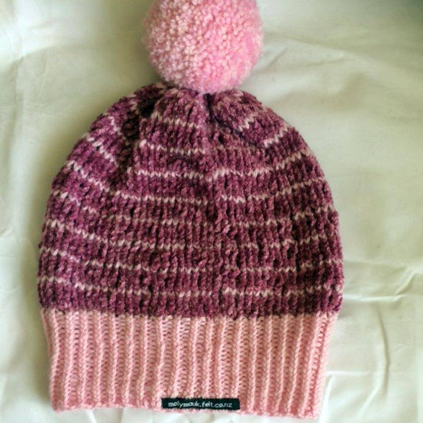 Pink Chenille Stripe Pompom Beanie
