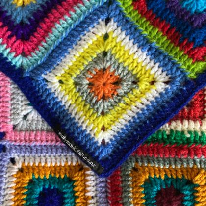 Acrylic Crochet Stripy Square Blanket or Bed Throw
