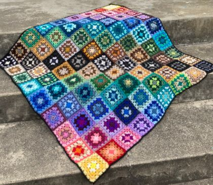 Rainbow Wool Crochet Granny Blanket or Bed Throw