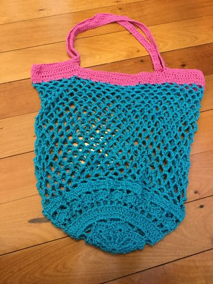 Sakura Market Bag - Bright Teal and Pink