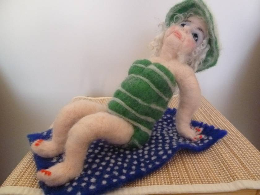 Needle Felted Beach Babe Marilyn