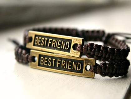 Set Of 2 Matching Bronze Best Friend Bracelets Felt
