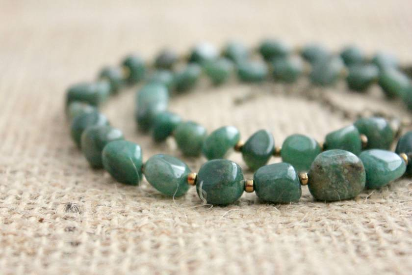 Beadsnknots: Green Jade Gemstone Necklace