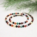 Beadsnknots Vintage-Colourful Agate Gem (6mm) Necklace