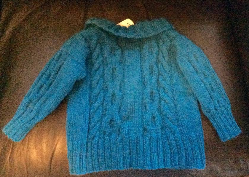 Turquoise Blue double-breasted cardigan (plus mittens)