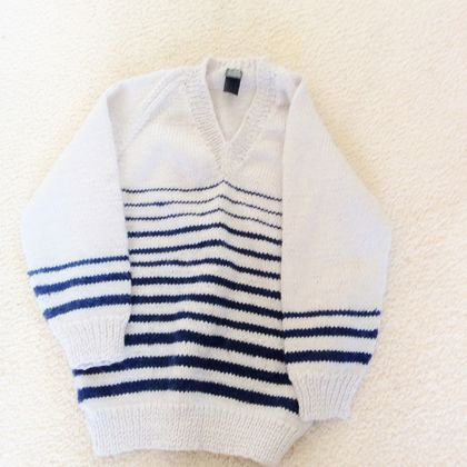 Navy Stripes - child's jumper in navy and off-white (matching hat)
