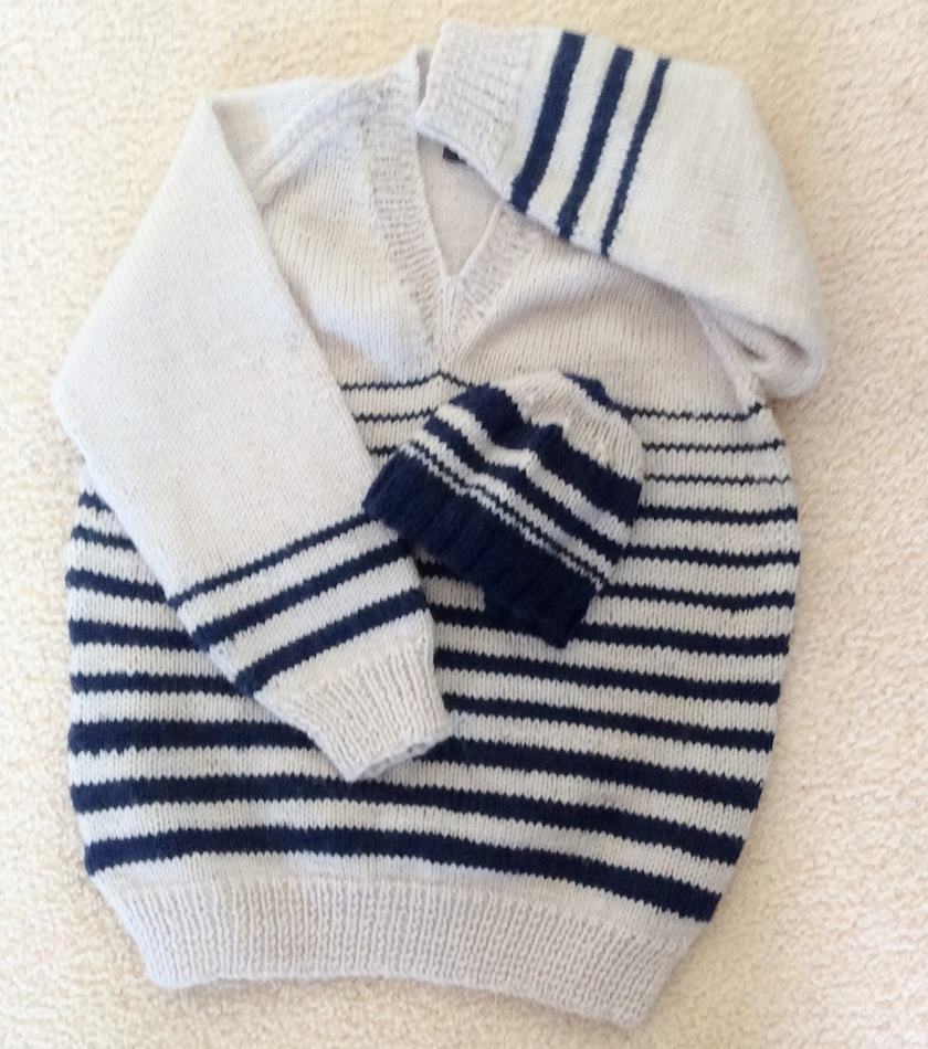 Navy Stripes - child's hat in navy and off-white (matches jersey)
