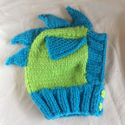 Dragon Hat (lime green and cyan blue)