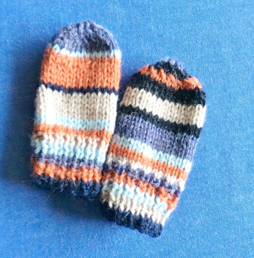 Ice and Fire - child's hat and mittens in navy, orange and blues
