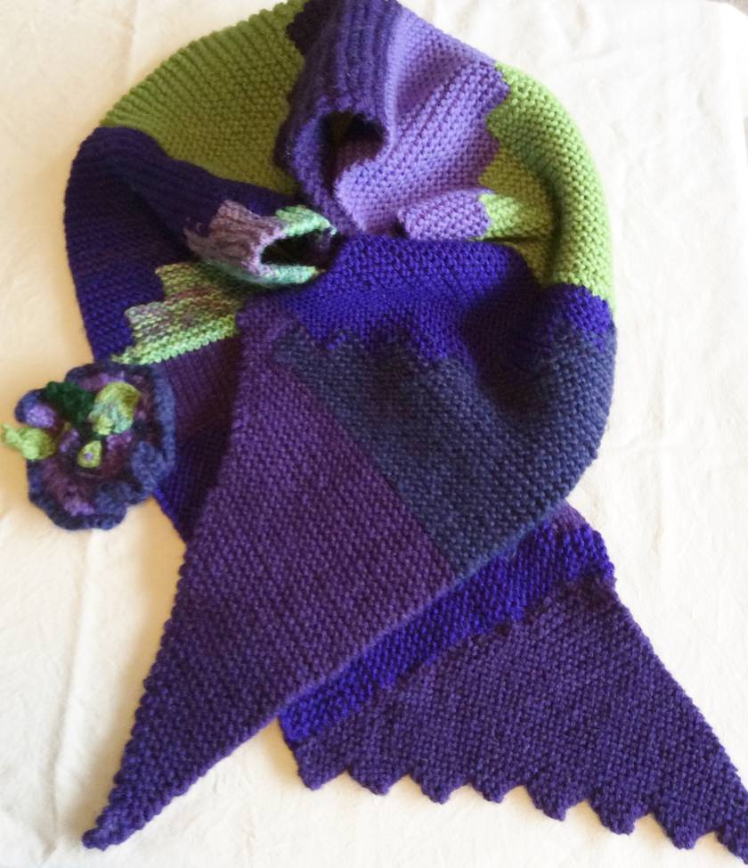 Scarf - Green and Purple steps, with flower brooch