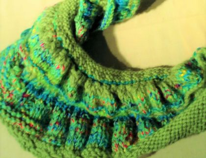 "Scarf: ""Infinite Spring"" - infinity scarf / mini shawl - greens and brights"