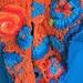 Handknit Shawl - Tangerine Turquoise Scrumble Shawl (Eclectic Rapt range)