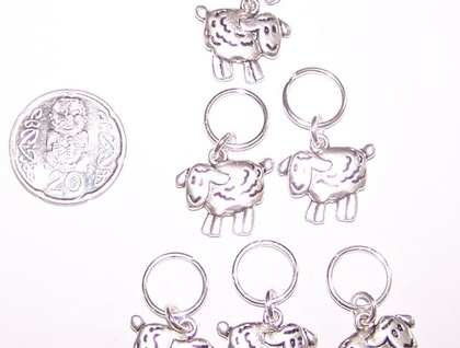 * Cute SHEEP stitch markers for KNITTING - set of 6 *