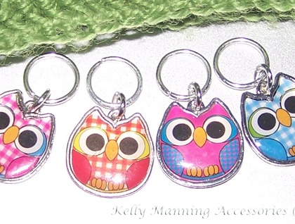 * Cute Enamel OWLS stitch markers for KNITTING - set of 4 *