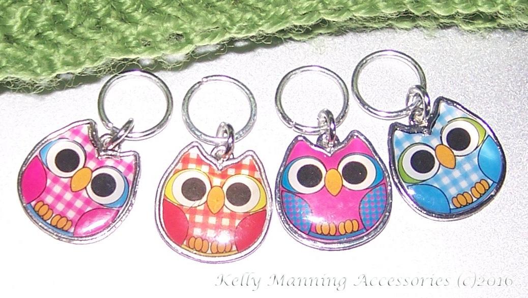 Knitting Stitch Markers Nz : * Cute Enamel OWLS stitch markers for KNITTING - set of 4 * Felt