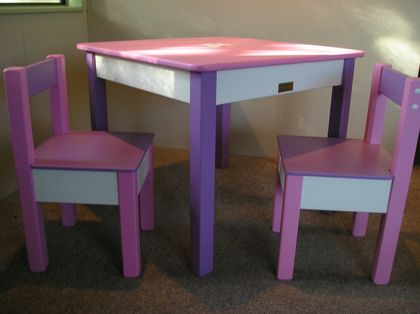PINK & PURPLE TABLE WITH TWO CHAIRS for 2 - 5 YEAR OLDS