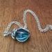 Translucent blue glass marble pendant