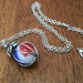 Blue, red and white glass marble pendant