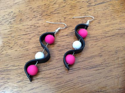 Shocking pink allsorts earrings- fun, bold, up-cycled jewellery