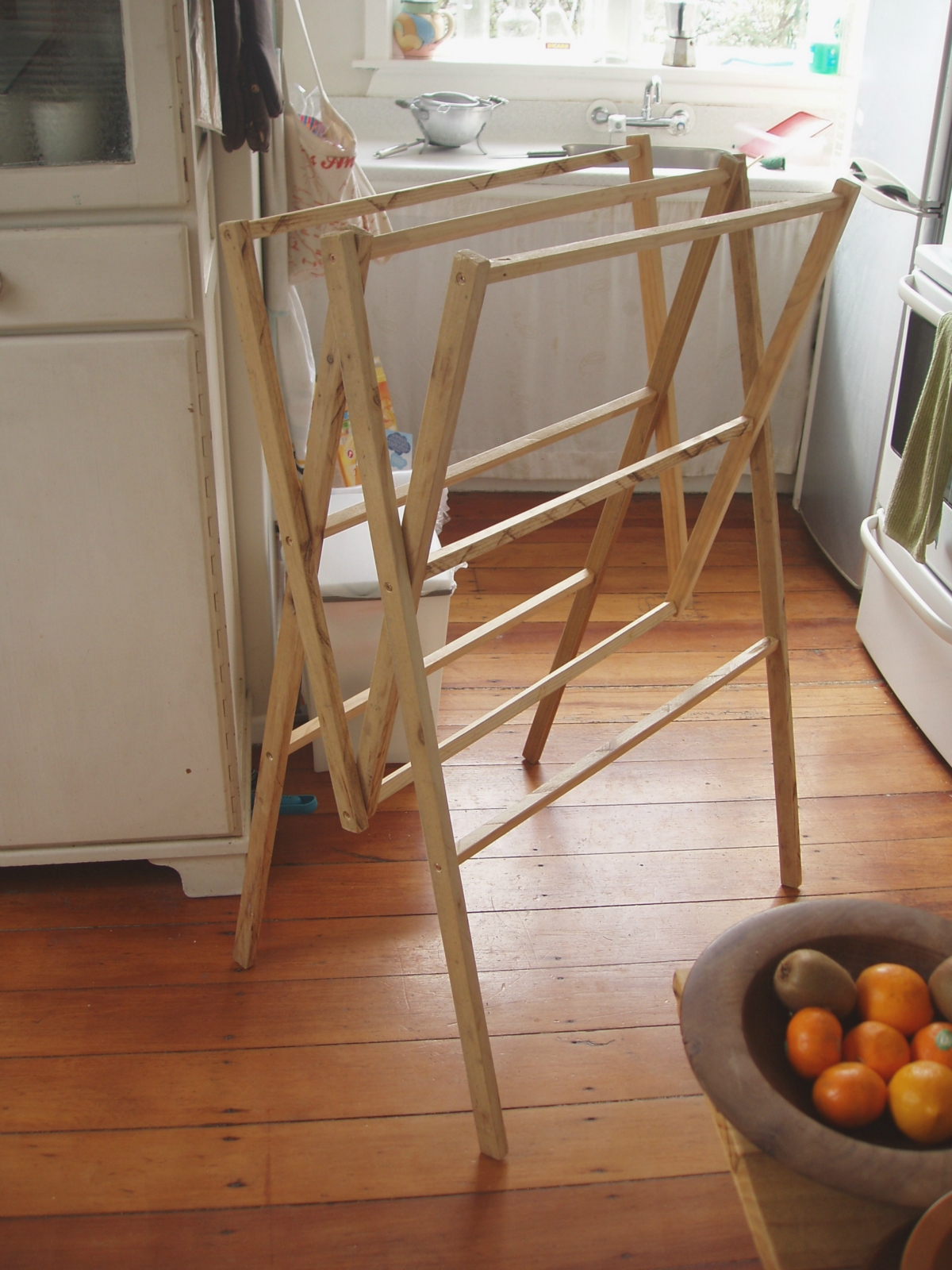 Recycled Wood Folding Clothes Drying Rack Felt