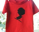 Red t-shirt, with black fantail print (size 3)