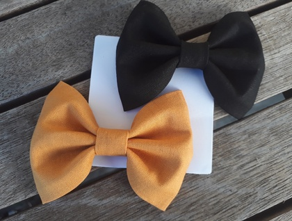 Black + Mustard Fabric Bows
