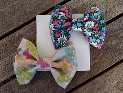 Butterflies + Flowers fabric bows