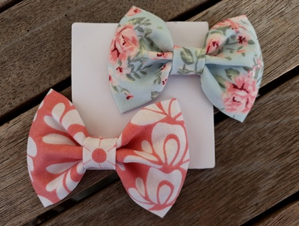 Pink Damask + Blue Rose Print Bows