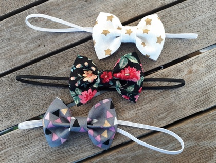 Three baby bow headbands - Small sized bows (5cm)