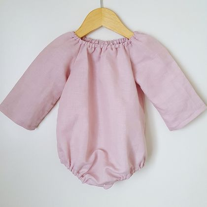 Blush Linen Playsuit 6-12m