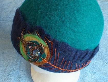 Felt hat wool hat Peacock beanie Teal Blue unique fiber felt hat ooak hat  felting handmade New Zealand FeltSoapGood  1d22095a92a