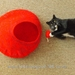 Cat Cave Medium Size Bright Red with purple loopy design Pure Wool from South Island New Zealand