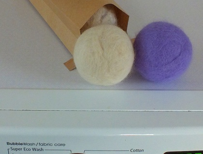 Handfelted laundry dryer balls for cloth nappies Set of 3