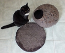 Cat Cave and Matching Mat Large Size felted natural New Zealand wool Made to order