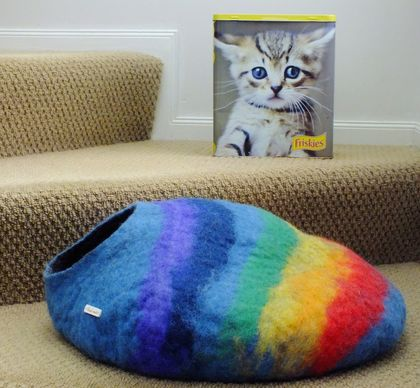 Cat Cave in Natural or Bright colours Medium size by FeltSoapGood