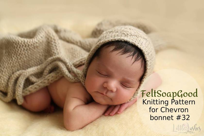 Pattern Newborn Bonnet Chevron PDF download Advanced level design Pattern #32 by FeltSoapGood