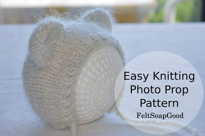 Knitting Pattern Newborn Bonnet Teddy design PDF pattern Beginer level design Pattern #29 by FeltSoapGood