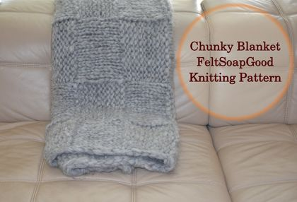 DIY Knitting Chunky Blanket set: 1500 gr Dark Grey wool and pattern by FeltSoapGood
