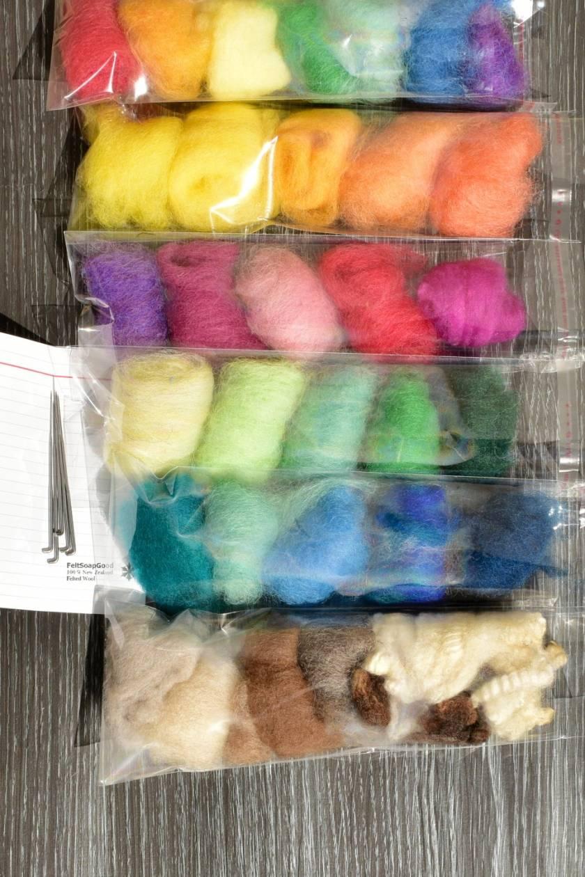Rainbow 5 needles + 7 wool felting kit FREE Shipping
