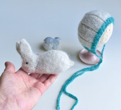 Knitted newborn bonnet and Bunny Alpaca yarn knit by FeltSoapGood