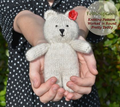 Knitting Pattern Work in the round Pretty Bear PDF pattern by FeltSoapGood