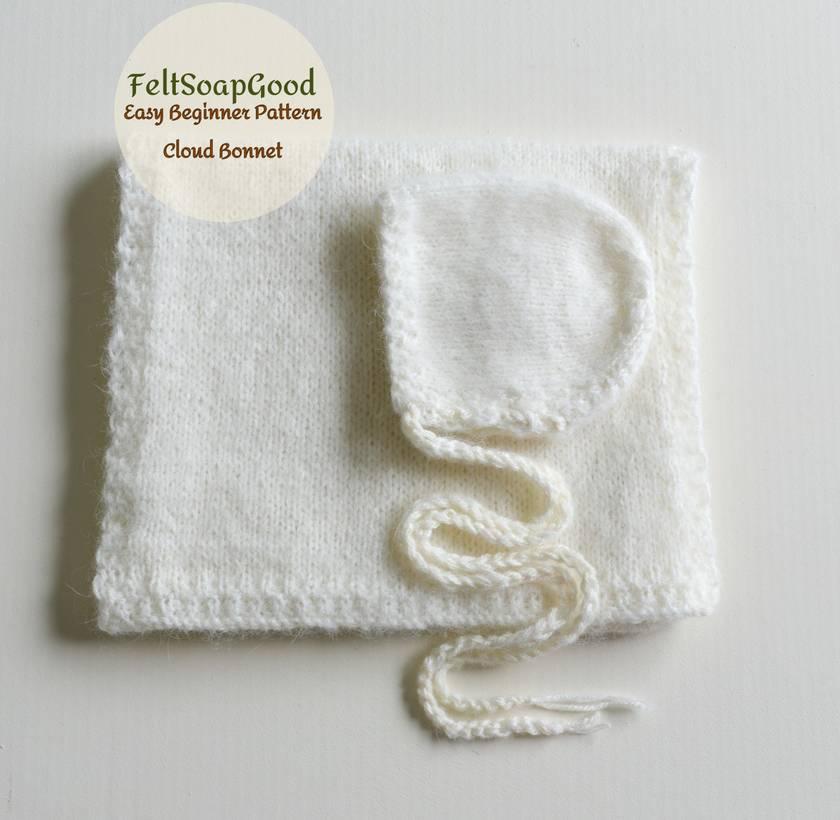 Knitting Pattern Baby Bonnet 3 sizes PDF pattern Beginer level design Pattern #22 by FeltSoapGood