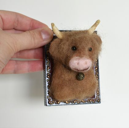 Miniature Faux Taxidermy: Highland Bull by FeltSoapGood