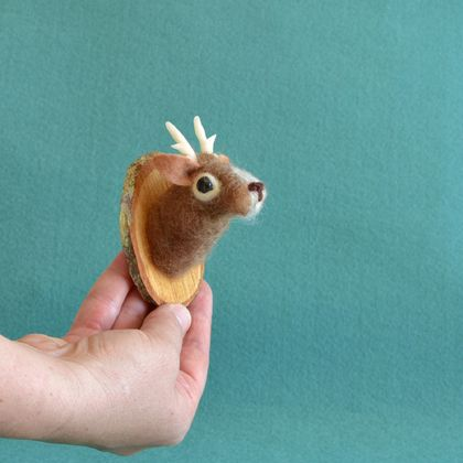 Miniature Faux Taxidermy: Reindeer by FeltSoapGood