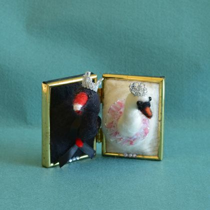 Miniature Faux Taxidermy: White Swan Odette and Swan King by FeltSoapGood