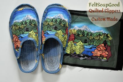 Custom-made Kiwiana quilted slippers 100% cotton and wool by FeltSoapGood
