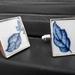 Blue Leaf Cufflinks (C33)