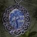 Filigree Framed Blue and White Pendant (P51)