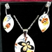 Fabulous Yellow and Black Pendant and China Chip Earrings - (EP90)
