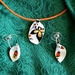 Cheerful Yellow, Orange and Black Pendant and China Chip Earrings - (EP98)